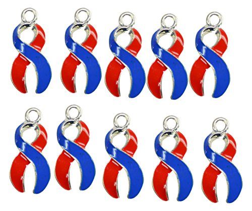 Ribbons for a Reason Awareness Ribbon Charm, Blue & Red, 10 Piece