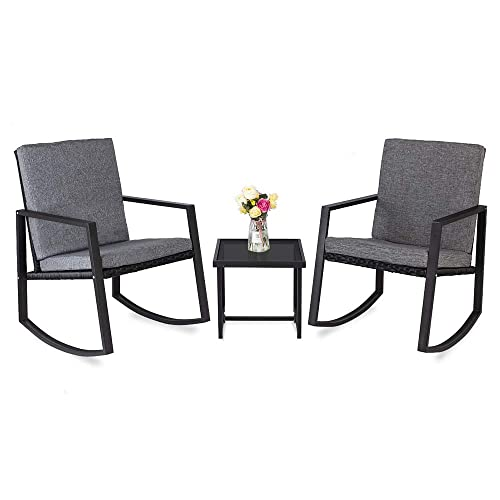 Bonnlo 3 Piece Rocking Wicker Patio Set