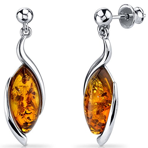 Baltic Amber Earrings Sterling Silver Cognac Color Marquise Shape - Cognac Color Amber Earrings