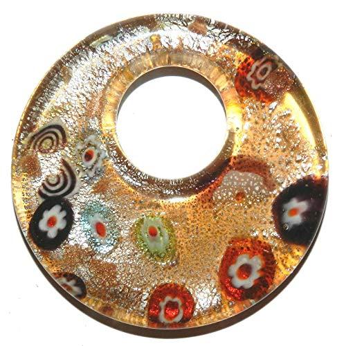 (Topaz Gold Silver Multi Millefiori 52mm Round GoGo Donut Glass Pendant #ID-532)