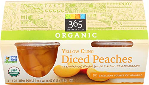 365 Everyday Value, Organic Yellow Cling Diced Peaches in Organic Pear Juice from Concentrate (4 - 4 oz bowls), 16 oz (Multigrain Cereal Bars)