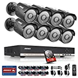 ANNKE 8CH Security CCTV Surveillance System 1080P Lite DVR with 1TB HDD and (8) Weatherproof Camera with 100ft Night Vision, Metal Housing, Enable H.264+ to Record Longer, Save Money