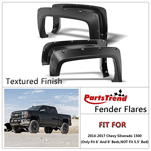 4pcs Textured Black Pocket-Riveted Fender Flares Kit Wheel Cover Set for 2014-2017 Chevy Silverado 1500 (Only Fit 6