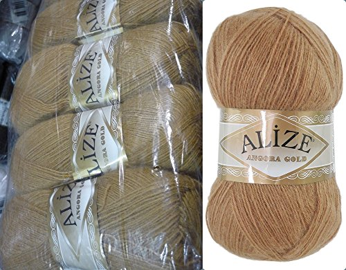 Mohair Wool Yarn Alize Angora Gold Thread Crochet Hand Knitting Turkish Yarn Lot of 4skn 400gr 2404yds Color 127 Caramel - Gold Mohair Yarn