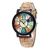 Leegor Unisex Individuality Harajuku Graffiti Pattern Leather Band Analog Quartz Vogue Wrist Watches