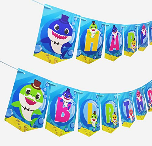 Cute Shark Party Happy Birthday Banner - Cute Shark Baby Party Decorations -Shark Banner,Pecfect for boy's and girl's Birthday Party.]()