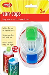 Jokari Beverage Deluxe Can Caps 2 Pack Soda pop Lids - Keeps Insects Out of Your Drink,Colors/Styles May Vary, 4 Pack