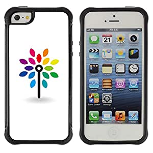 WAWU Funda Carcasa Bumper con Absorci??e Impactos y Anti-Ara??s Espalda Slim Rugged Armor -- design clean white minimalist rainbow -- Apple Iphone 5 / 5S