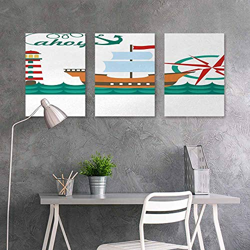 (Canvas Print Artwork Sticker,Ahoy Its a Boy,Sail Boat on Sea Waves Lighthouse and Compass Anchor Icons Celebration,Easy Care Oil Painting 3 Panels,16x31inchx3pcs,Teal Brown Red)