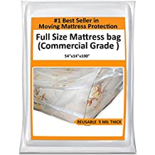 Full Mattress Bag For Moving - Heavy Duty Plastic Cover Protector 5 Mil Thick - Reusable Storage Solution