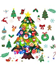 Australove DIY Felt Christmas Tree with 30 LED Lights,32pcs Ornaments Christmas Window Door Wall Hanging Decorations, Xmas Gifts for Kids New Year Handmade Christmas Door Wall Hanging Decorations(32pcs)