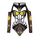 NEWONESUN Women African Print Bikini Set Swimwear Push-Up Padded Bra Swimsuit (Large)