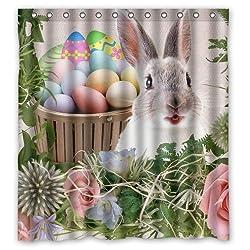 Happy Easter Series Custom Waterproof Fabric Bathroom Colorful Eggs Rabbit Pink Rose Floral Shower Curtain