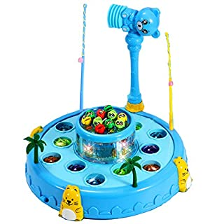 Vozada 2 in 1 Wack A Mole Game and Fishing Game TWhack-a-mole Toys for Kids Toddlers Childs Baby Educational Toys (Blue)