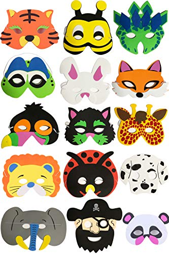YUKNOW 15Pcs Felt Animal Masks, Cosplay Eye Masks Birthday Party Favors for Kids Boys Girls (Style A)
