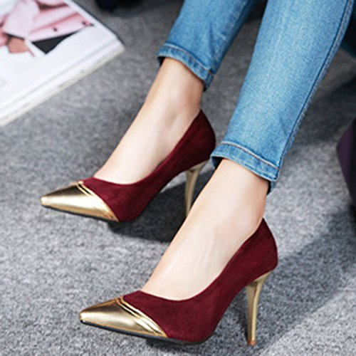 Azbro Mujer Zapato Estilete Bomba Slip-on de Color Bloque con Puntera Punta Rojo