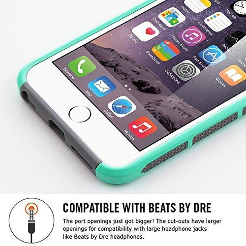 Caso del iPhone 6s, ULAK iPhone 6 Funda Carcasa Protector híbrido de la capa dual TPU + cubierta dura de la caja de la PC para el iPhone 6s / 6 4.7 pulgadas (mármol del oro de Rose) iPhone 6s 6 Case-Mint + Grey