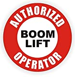 "1-Pcs Greatest Popular Authorized Boom Lift Operator Vinyl Stickers Sign Shop Decor Hard Hat Decals Weatherproof Size 2"" Color Red Black White"