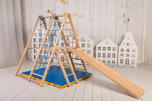 Indoor Climbing (EZPlay Panda Playground – Natural Wood Color Indoor Jungle Gym Sets For Home Up & Stores Away in Minutes, Kids Playset Complete with Climbing Ladder Swing Slide & Rings, Play Structure for Ages 1-5)