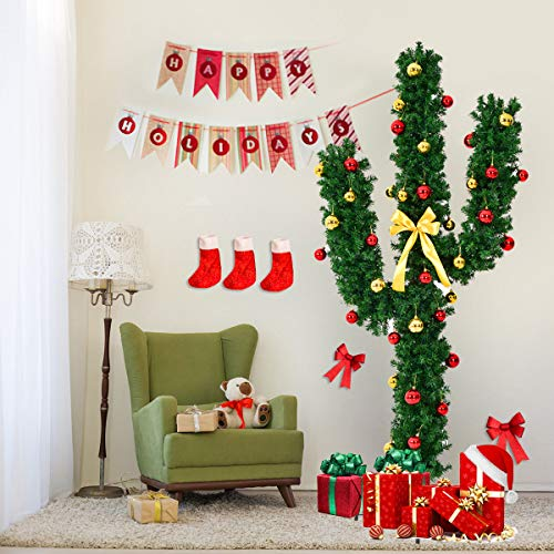 Item Valley 7Ft Pre-Lit Cactus Artificial Christmas Tree w/LED Lights and Ball Ornaments