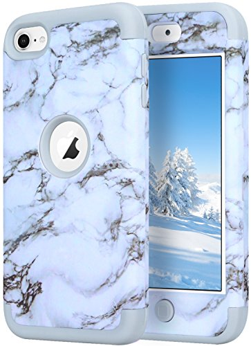 iPod Touch 5 Case,iPod Touch 6 Case,KZONO Heavy Duty High Impact Armor Case Cover Protective Pattern Case for Apple iPod touch 5 6th Generation -Marble/Grey