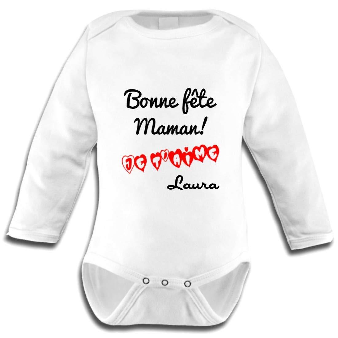 Les Lutins de Camille-Body bébé bonne fête Maman, fête des mères + prénom