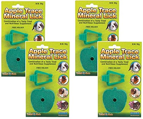 (4 Pack) Ware Manufacturing Apple Mineral Lick Small Pet Chews with (Salt Lick Holder)