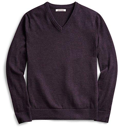 Goodthreads Men's V-Neck Merino Sweater, Purple Heather, XX-Large