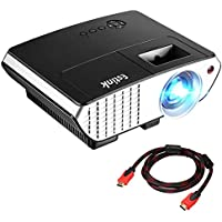 Portable LCD Projector, 2000 Lumens LCD Video Projectors Support 1080P HDMI USB VGA AV for Multimedia Home Cinema, Movie, TV, Laptops, Games, Smartphones, Black