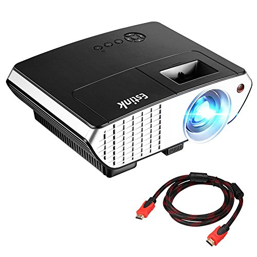 Video Projector 2000 Lumens Multimedia Home Theater LED Projector Support 1080P With Optical Keystone USB/AV/HDMI/VGA Interface Ideal for Home Cinema TV Laptop Game Iphone Smartphone with HDMI Cable by Estink