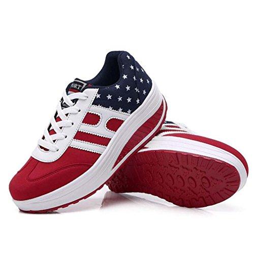 Solshine Damen Canvas mit Sterne Mustern Erhöhte Schnürer Freizeit Sportschuhe Sneakers Rot