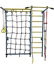 Kids Playground 8 in 1 Children Exercise Indoor Playset, Jungle Gym Climber Monkey Bars, Gymnastics Swedish Wall Ladder, Climbing Cargo Net, Climbing Rope & Rope Ladder, Horizontal Bar, Trapeze Rings