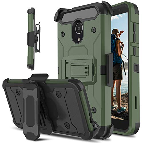 Alcatel 1X Evolve Case, Alcatel Ideal Xtra Case, lovpec Rugged Swivel Belt Clip [Heavy Duty Protection] Kickstand Hybrid Full Body Protective Shockproof Phone Cover Case for Alcatel TCL LX (Natural)