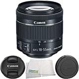 Canon EF-S 18-55mm f/4-5.6 IS STM Lens 4PC Bundle – Includes Manufacturer Accessories + Microfiber Cleaning Cloth – International Version (No Warranty) (White Box)