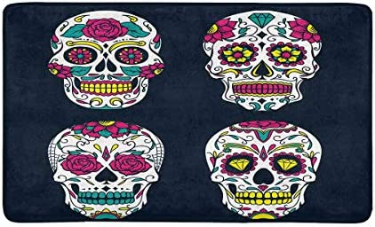INTERESTPRINT Day of The Dead Colorful Sugar Skull Non-Slip Indoor and Outdoor Door Mat Rug Home Decor, Entrance Rug Floor Mats Rubber Backing, 30 L x 18 W