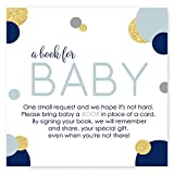 Navy and Gold Bring a Book for Baby Boy Invitation Insert Cards (25 pc.)