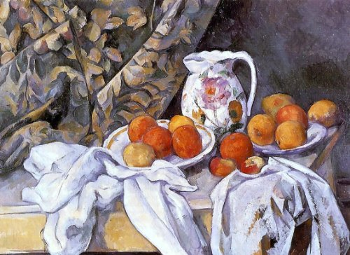 Flowered Pitcher - Paul Cezanne Still Life with Curtain and Flowered Pitcher - 21.05
