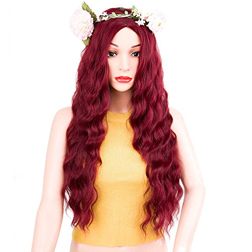 ForQueens Long Curly Wigs for Women Natural Hair Wigs Wavy Red Hair Wig Loose Deep Wave Synthetic Heat Resistant Fiber Full Wig by ForQueens