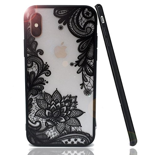 iPhone X Case,HUIYCUU Totem Henna Lace Flower Slim Fit Case Soft Border Matte Hard Back Cover Girls Paisley Datura Design for iPhone X Edition / iPhone 10 5.8 inches,Black Mandala