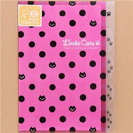 Carpeta archivador A4 A3 plástico 5 apartados rosa gatos y lunares: Amazon.es: Juguetes y juegos