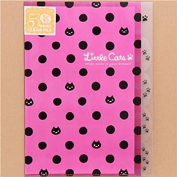Carpeta archivador A4 A3 plástico 5 apartados rosa gatos y ...