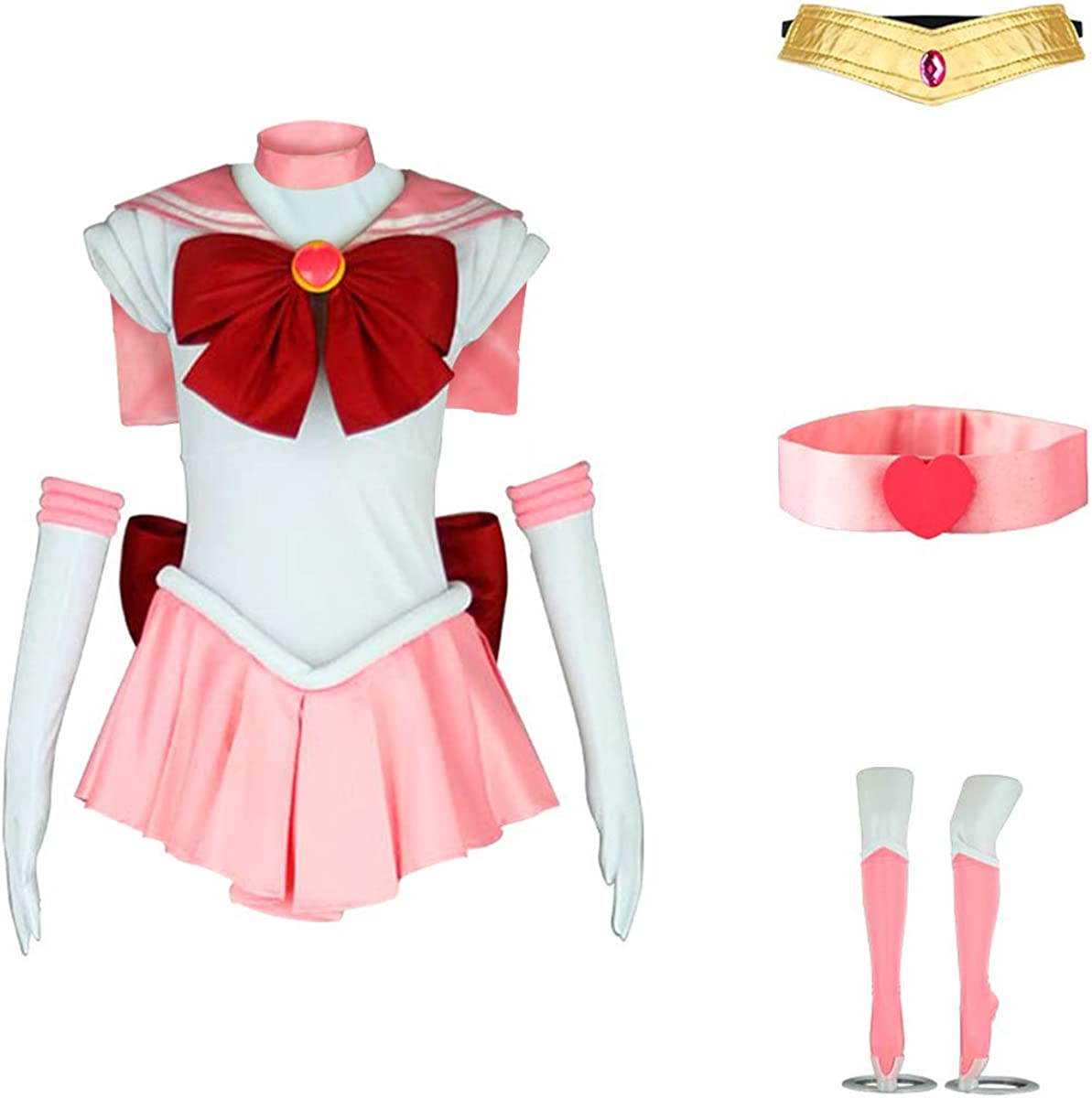 New Chibiusa Sailor Chibi Moon Lolita Cosplay Pink Party Wig Short Women/'s Wig
