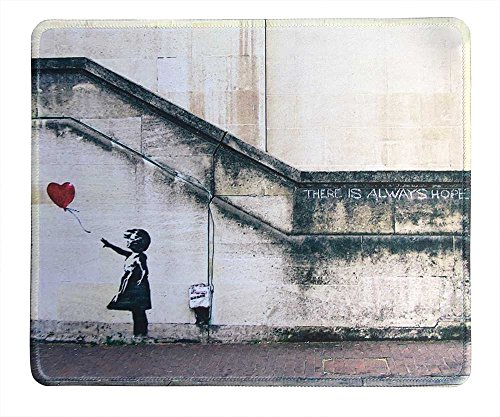 dealzEpic - Art Mouse Pad - Natural Rubber Mouse Pad w/ Printing of Banksy Art There is Always Hope and Girl with Balloons - Stitched Border - 9.5x7.9 inches - Girl Art Mouse Pad