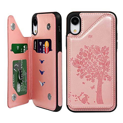 Butterfly Floral Wallet - iPhone XR Case, TPU Wallet Flip Folio Case Kickstand Card Slots Snap Buttons Floral Tree Butterfly Leather Coating Drop Resistant Soft TPU Bumper Shell Slim Protective Cover for iPhone XR Rose Gold