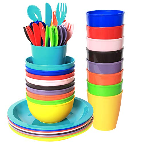 Youngever 54 pcs Plastic Kids Dinnerware Set of 9 in 9 Assorted Colors, Toddler Dining Set, Cups, Kids Plates, Kids Bowls, Flatware Set, Kids Dishes Set