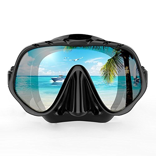COPOZZ Snorkel Mask, Snorkeling Scuba Dive Glasses, Free Diving Tempered Glass Goggles - Optional Dry Snorkel With Comfortable Mouthpiece (4100-Black)