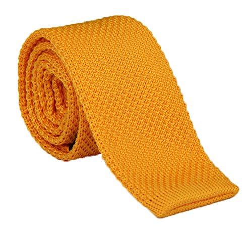 (Men Boy Solid Trendy Skinny Tie in Summer Yellow Stylish Necktie For Groom 1.96