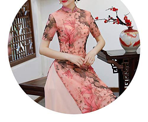 サーキットに行く不機嫌そうな立派なチャイナドレススタイルの女性の服レトロ長いセクションナショナルスタイルの女性服,8650,XL