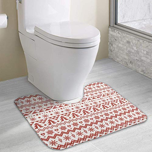 Dealbert Contour Bath Rugs,U-Shaped Bath Mats,Soft Memory Foam Bathroom Carpet,Nonslip Toilet Floor Mat 19.2″x15.7″