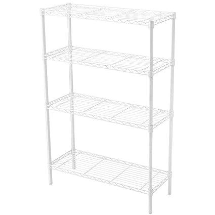 Hdx Wire Shelving | Amazon Com Hdx 36 In X 14 In 4 Tier Wire Shelf In White Electronics
